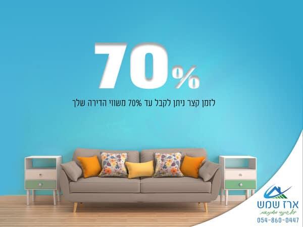 ספה בבית שבבשיעבוד ניתן לקבל עד 70 אחוז לאיחוד הלוואות