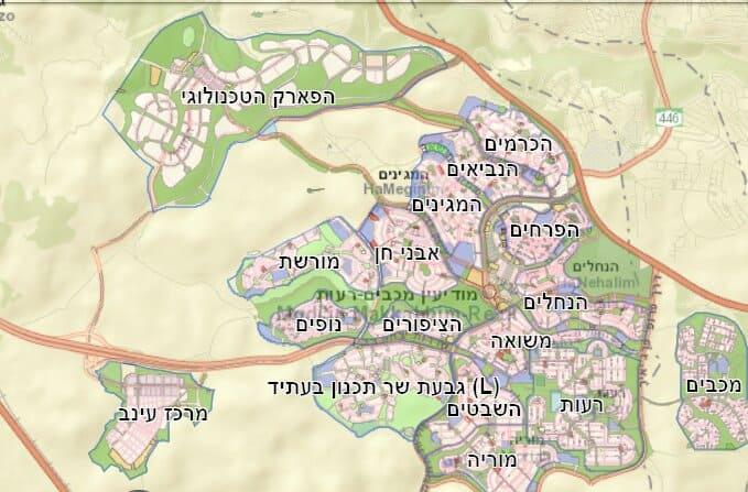 מפת שכונות העיר מודיעין